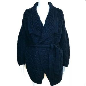 Aran Crafts Women's Navy Blue Belted Sweater Large